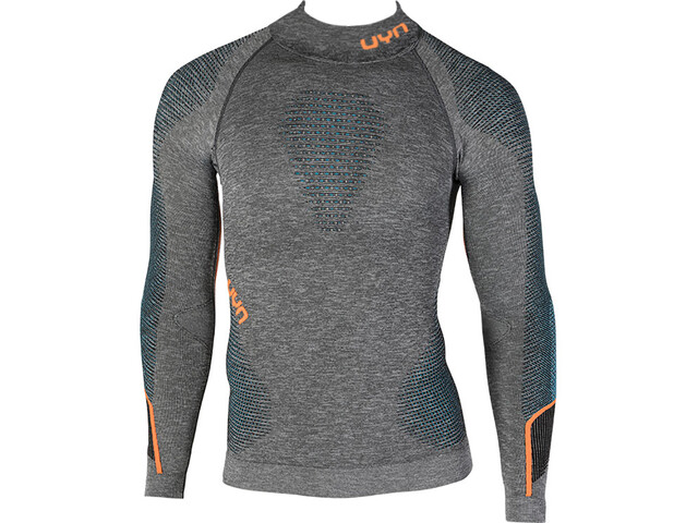 UYN Ambityon Melange UW LS Turtle Neck Shirt Herr black melange/atlantic/orange shiny